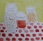painting shows grains, pulses and sauce stored in glass jars