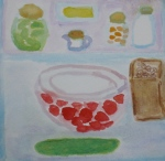 Painting shows refrigerator contents stored in paper, glass and china.