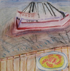 painting shows dish of shrimp and grits and a shrimp boat.