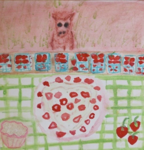 Painting shows a heart-shaped strawberry shortcake and baskets of berries.