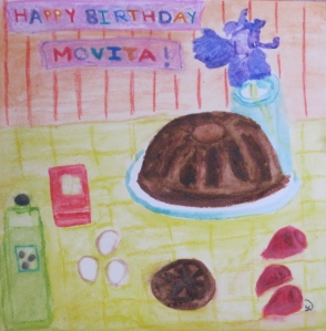 painting shows a Mexican chocolate beet bundt cake with birthday banner.
