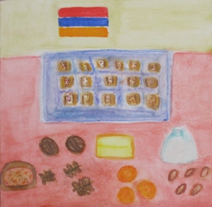 Painting depicts tray of nazook, a filled Armenian pastry.