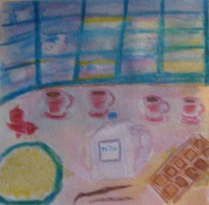 painting shows four cups of atole with chocolate and other ingredients