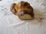 photo shows cut end of Challah loaf to show crumb and color.