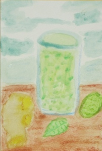 Painting shows lime, mint leaf, ginger root and glass.