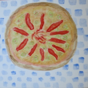 painting of pizza with red peppers and olives