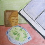 painting of picked mixed greens in colander, Buddha image.
