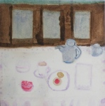 Painting shows tea service on linen cloth in dining room.