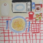Painting shows convenience foods, microwave oven, disposable utensils.