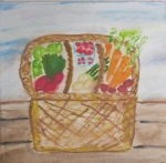 Painting shows basket of fresh produce.