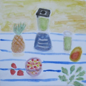painting of blender, fruit, spinach and the resulting green smoothie in a glass.