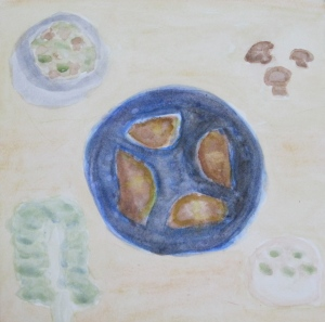 Painting shows calzones on pizza pan and ingredients.