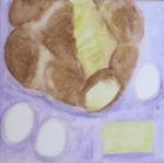 painting shows misshapen loaf of Challah, eggs and butter.