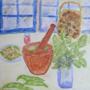 painting shows mortal and pestle, basil, basket of walnuts.