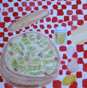 Painting shows Caesar Salad and ingredients.