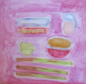 painting shows rhubarb in various preparations.