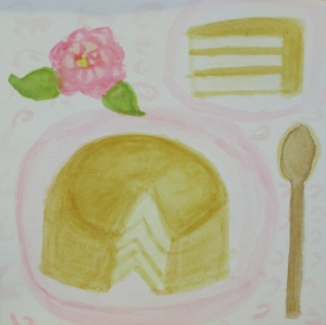 Original watercolor painting shows vanilla cake with caramel icing.
