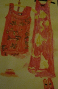 Original watercolor painting shows long and short red dresses.