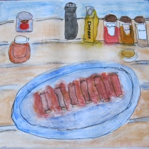Original watercolor painting shows platter of barbecued spare ribs.