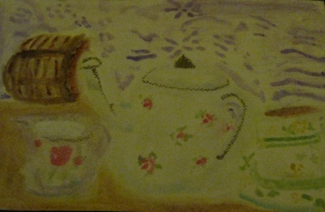 Original watercolor painting of tea service.