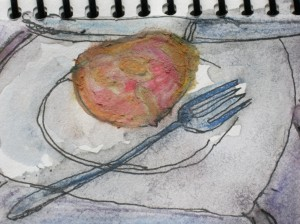 Original ink and acquarelle sketch shows peach on plate with knife and fork.