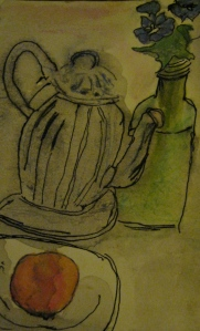 Original pen, ink and acquarelle sketch shows glass teapot with peach and delphineums.