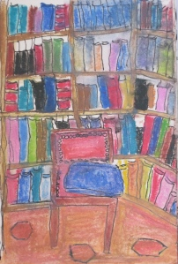 Original watercolor painting of Shakespeare and Company, a Paris Bookstore.