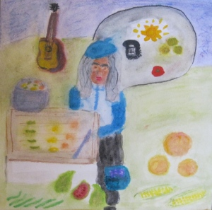 Original watercolor self-portrait with produce and guitar. Sharyn Dimmick.