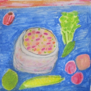 Original watercolor painting shows bowl of fruit salsa and ingredients.