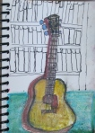 Original ink and watercolor sketch of old Harmony guitar.