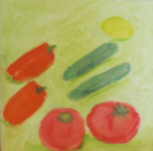 Original watercolor painting shows tomatoes, cucumbers, gypsy peppers and lemon.