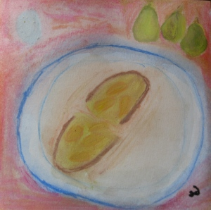 Original watercolor shows pain perdu with carmelized pears on plate.
