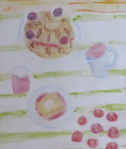 Original painting shows cherry plums, plum cake, plum caramel.