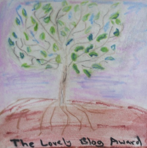 Original painting of many-leaved tree with roots.