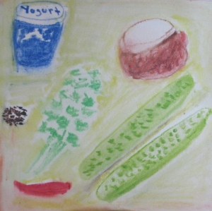 Original watercolor painting shows ingredients for cucumber raita.