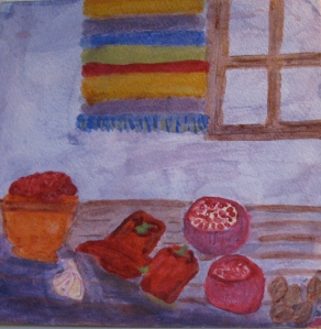 Original watercolor painting shows Muhammara and ingredients.