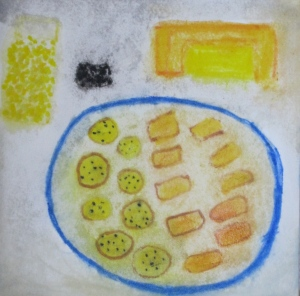 Original painting shows plate of two kinds of crackers, plus ingredients.