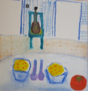 Watercolor painting of bowls of polenta, tomato, Martin guitar in green chair.