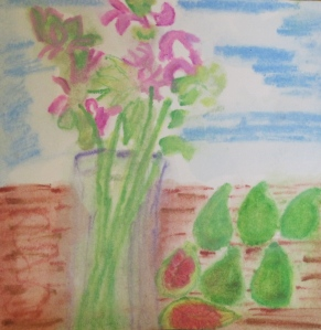 Original watercolor painting shows vase of monardia, green figs.