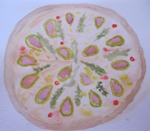 Original  unfinished watercolor painting of pizza with fresh figs.
