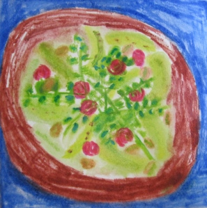 Original watercolor shows salad of pears, arugula, cranberries, feta, pistachios.