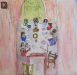 Original ink and watercolor painting shows people around breakfast table.