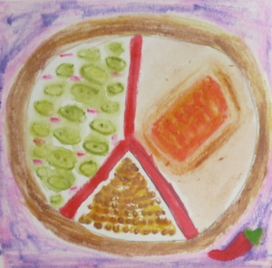 Peace sign with cookie border, containing salmon, zucchini and lentils.