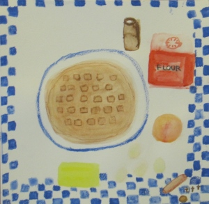 Original watercolor painting shows gingerbread waffle and ingredients.