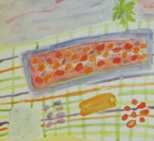 Original watercolor painting shows Greek-style salmon and ingredients.