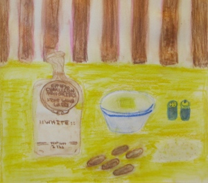 Original watercolor painting depicts bag of grits, pile of grits and bowl of grits.
