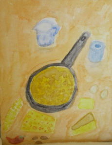 Original painting shows cornbread variations and ingredients.