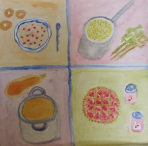Original watercolor painting shows four cooked dishes: cereal, soup, polenta and pie.