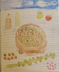Original painting shows shaved Brussels sprouts salad and ingredients.