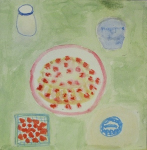 Original watercolor painting depicts biscuit-type strawberry shortcake.